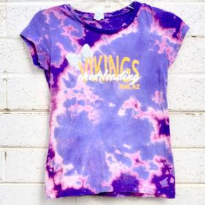 Tie Dye Cheerleader Tee Shirt Purple Pink Tied Die